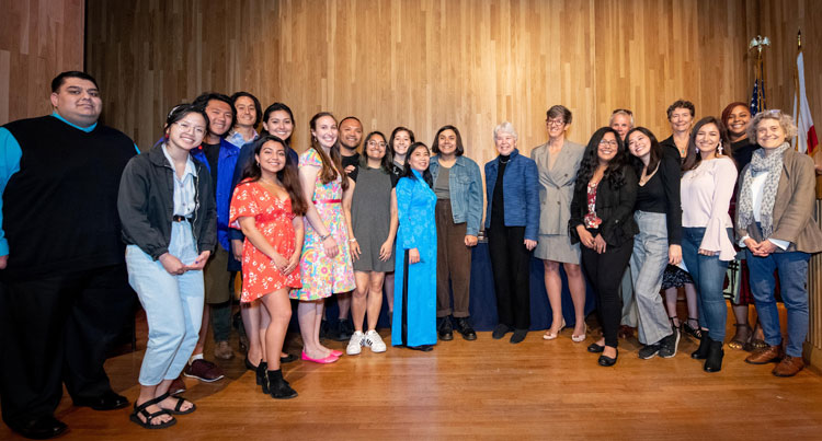 Chancellor Christ with 2018-2019 award recipients